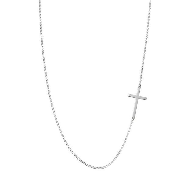Strieborná retiazka s bočným krížikom, dĺžka 38 cm