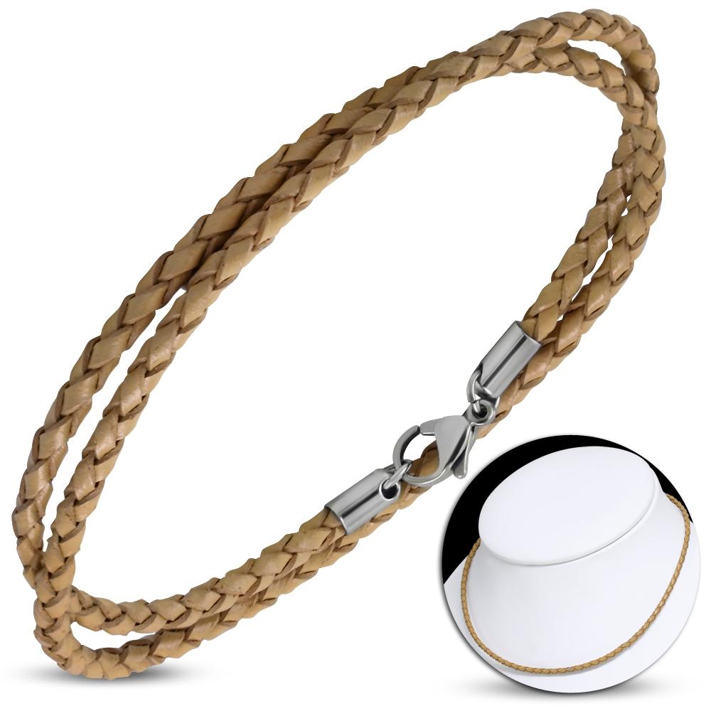Kožený náhrdelník splietaný - oceľový uzáver, hr. 3 mm, dĺžka 450cm