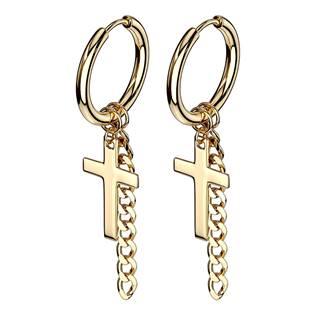 Zlacené ocelové náušnice kroužky s křížky