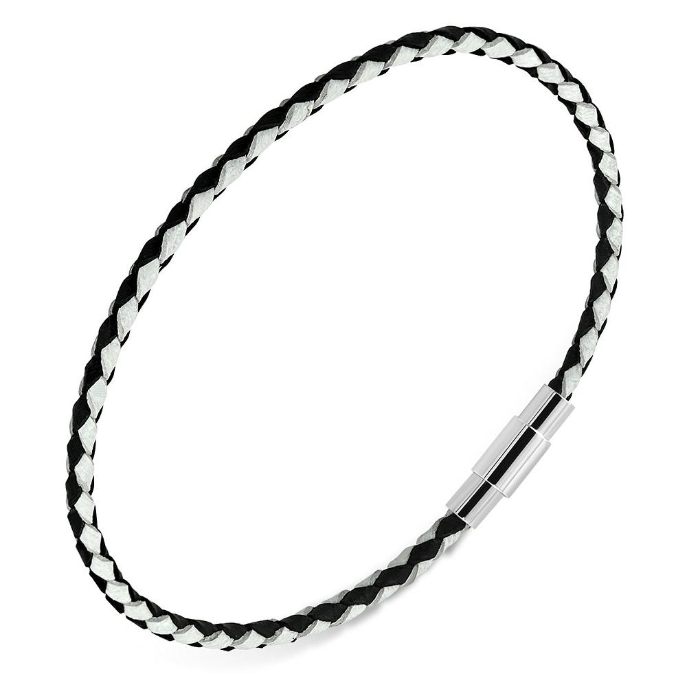 Čierny / biely kožený splietaný náramok