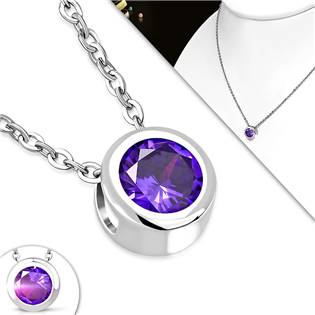 OPD0133-A Ocelový řetízek se zavěšeným kamenem fialové barvy
