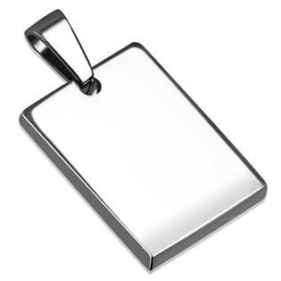 Ocelový přívěšek destička, mini obdélníková destička 16 x 22 mm