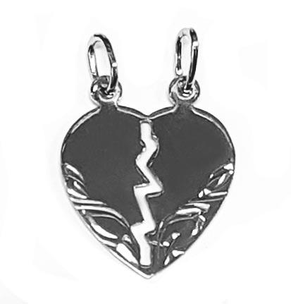 Strieborný prívesok párový - srdce delené malé