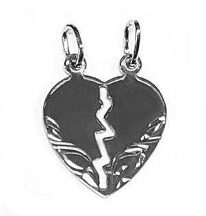 ZB51272-03 Stříbrný přívěšek párový - srdce dělené malé