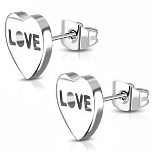 Ocelové náušnice - srdíčka LOVE OPN1013