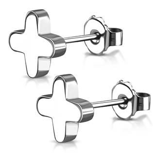Ocelové náušnice - křížky zaoblené OPN1016