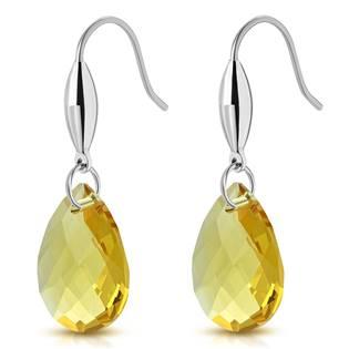 Šperky4U Visací ocelové náušnice kapky, žluté kameny - OPN1031-Y