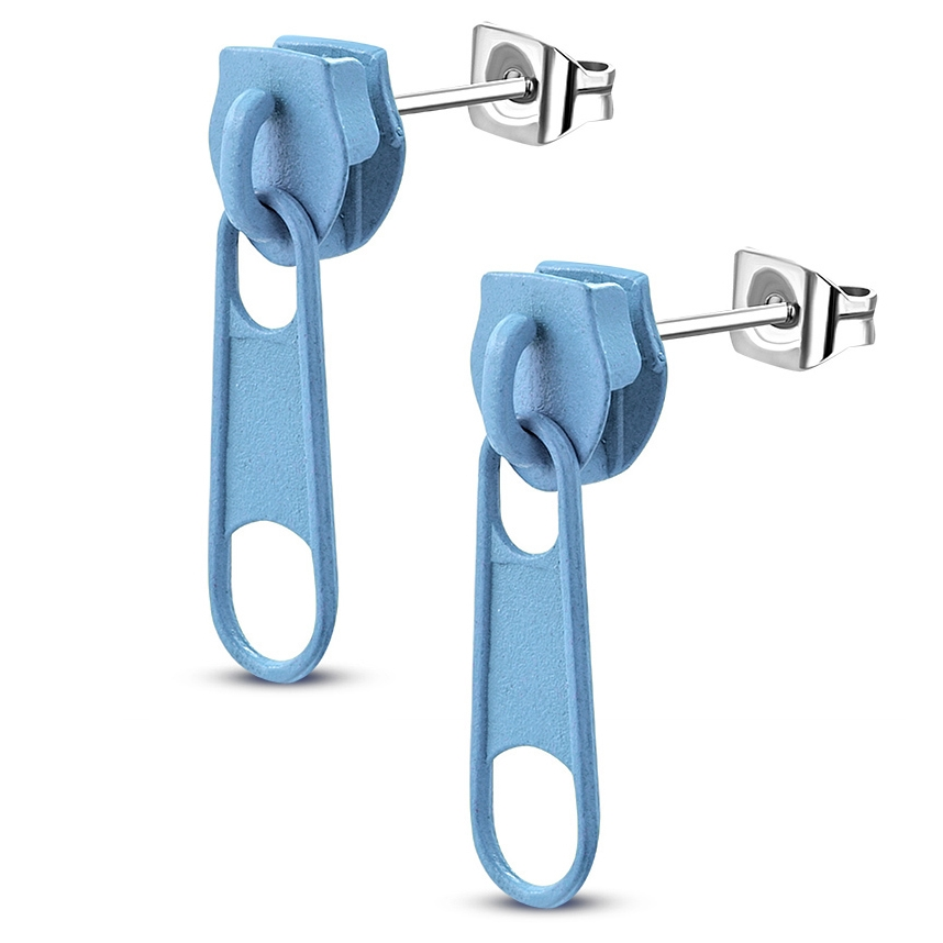 Ocelové náušnice - zipy světle modré
