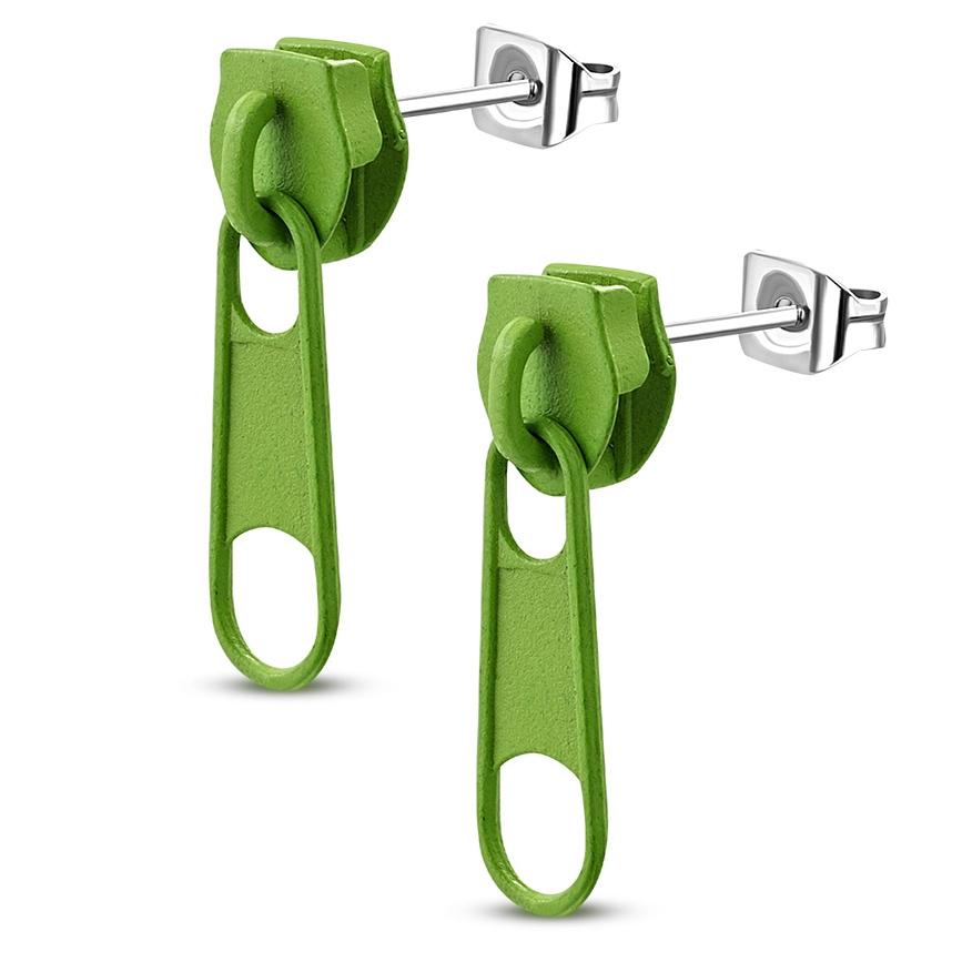Ocelové náušnice - zipy zelené