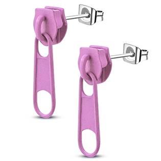 Ocelové náušnice - zipy růžové