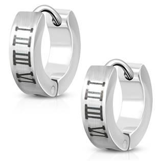 Šperky4U Malé ocelové náušnice kroužky s římskými čísliceni - OPN1056