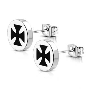 Ocelové náušnice - maltézské kříže OPN1106