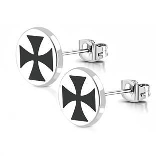 Ocelové náušnice - maltézské kříže OPN1109