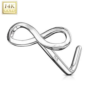 Zlatý piercing do nosu - infinity - nekonečno, Au 585/1000