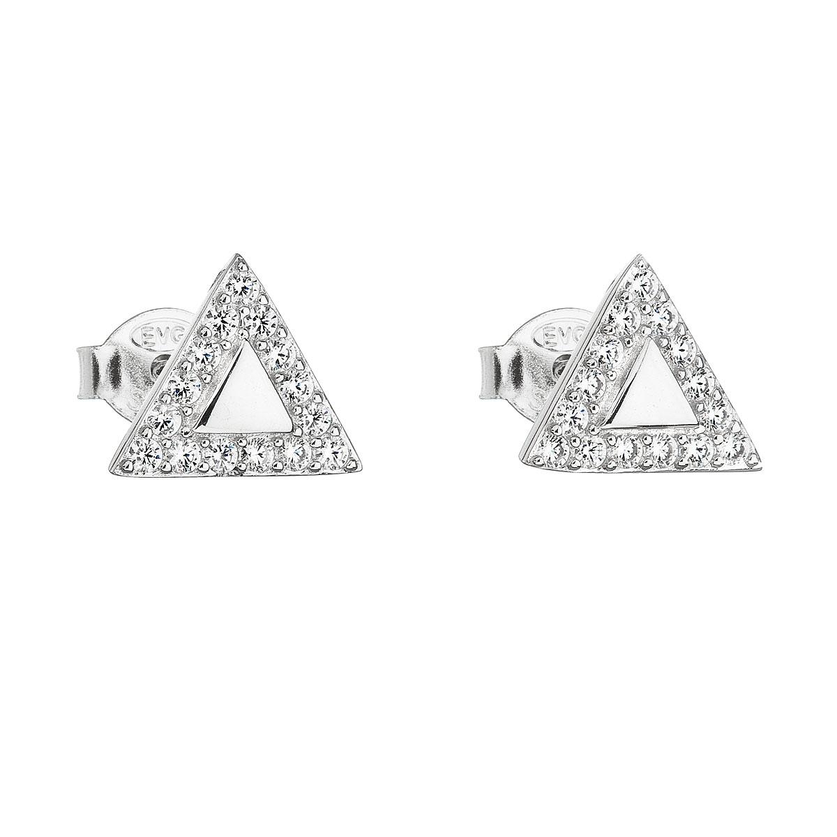 Stříbrné náušnice trojúhelníky se zirkony EG2154