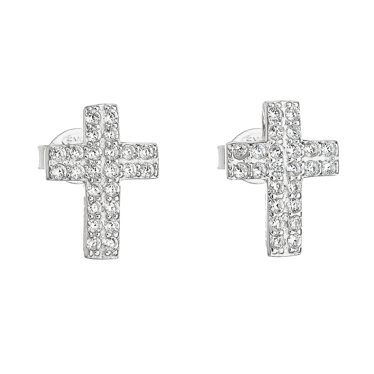 Stříbrné náušnice křížky se zirkony EG2150