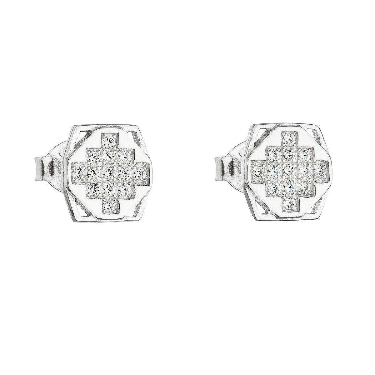 Stříbrné náušnice pecka se zirkonem bílý čtverec EG2146