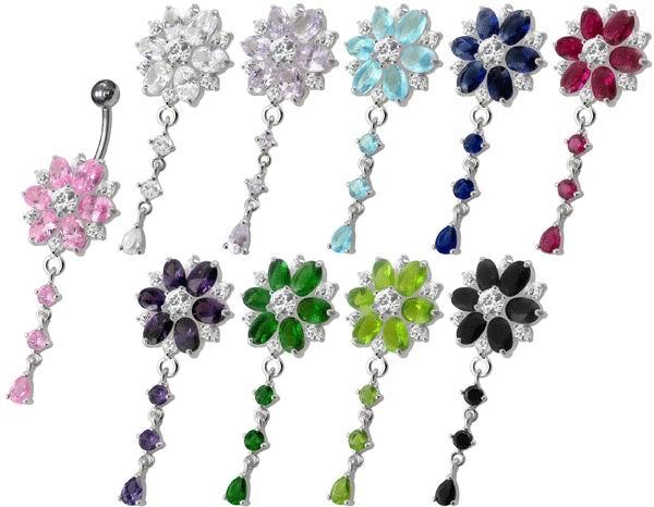 Stříbrný piercing do pupíku - kytička fialová BP01120-A