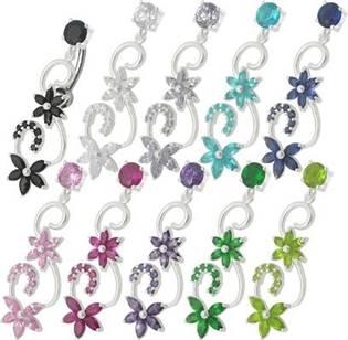 Šperky4U Stříbrný piercing do pupíku - BP01125-E