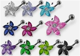 Šperky4U Stříbrný piercing do pupíku - kytička - BP01159-P