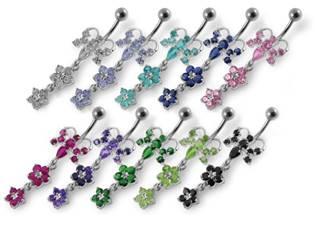 Šperky4U Stříbrný piercing do pupíku - motýlek - BP01192-B