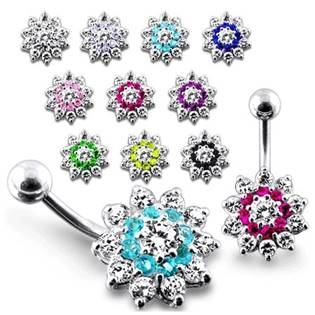 Šperky4U Stříbrný piercing do pupíku - kytička - BP01099-CQ