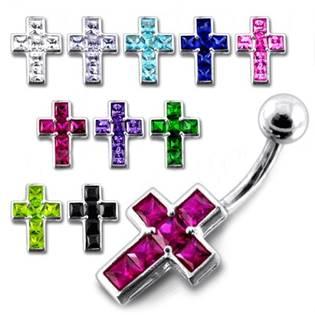 Stříbrný piercing do pupíku - křížek
