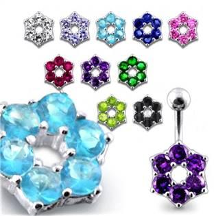 Šperky4U Stříbrný piercing do pupíku - kytička - BP01016-Q