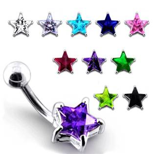 Stříbrný piercing do pupíku - hvězda