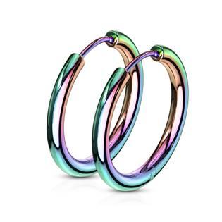 OPN1119W Duhové ocelové náušnice - kruhy 19 mm