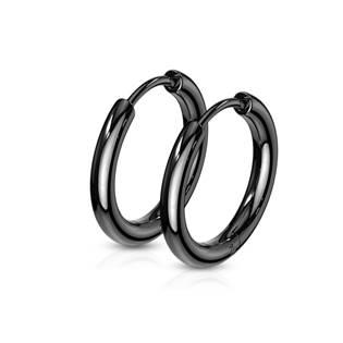 OPN1119K-15 Černé ocelové náušnice - kruhy 15 mm