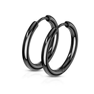 OPN1119K-17 Černé ocelové náušnice - kruhy 17 mm