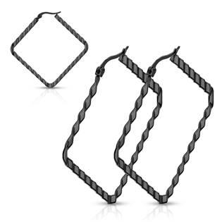 Černé ocelové náušnice - čtverce 40 mm