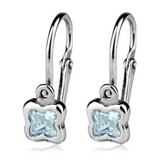 Šperky4U Dětské náušnice stříbrné - kytičky, Aquamarine - CS1130-Q