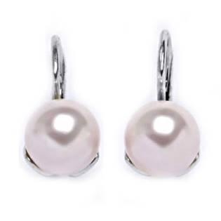 Stříbrné náušnice s růžovými perličkami Crystals from Swarovski® Rosaline