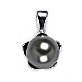 Stříbrný přívěšek perla 8mm Crystals from Swarovski® Gray