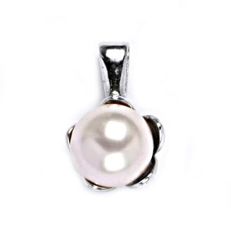 Strieborný prívesok perla 8mm Crystals from Swarovski ® Rosaline