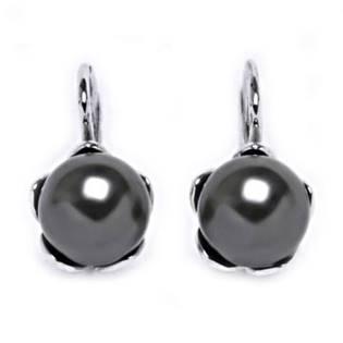 Stříbrné náušnice se šedými perličkami Crystals from Swarovski® Gray