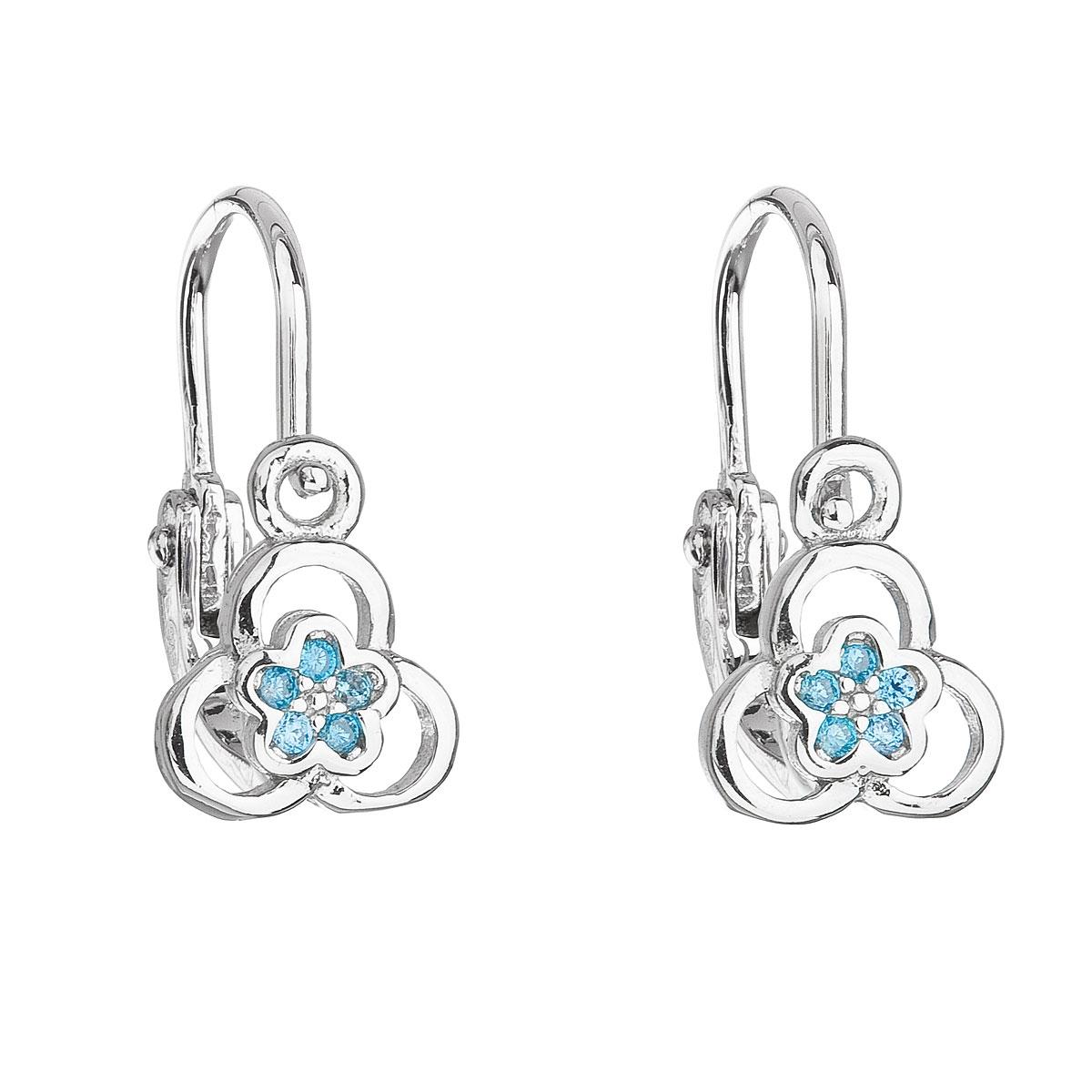 Stříbrné dětské náušnice kytičky, světle modré zirkony EG2307-LB