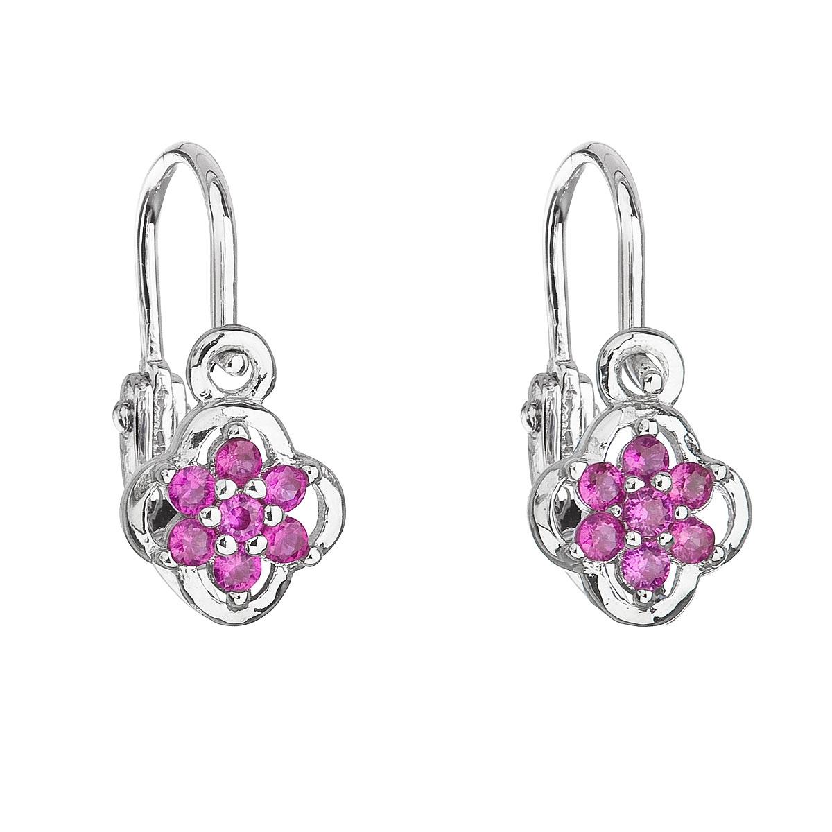 Stříbrné dětské náušnice, růžová kytička EG2311-F