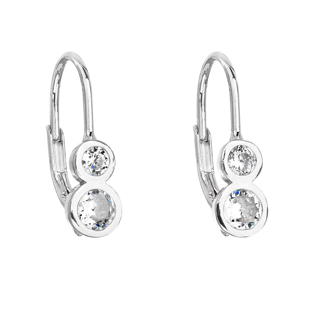 Stříbrné dámské náušnice se dvěma zirkony EG2190