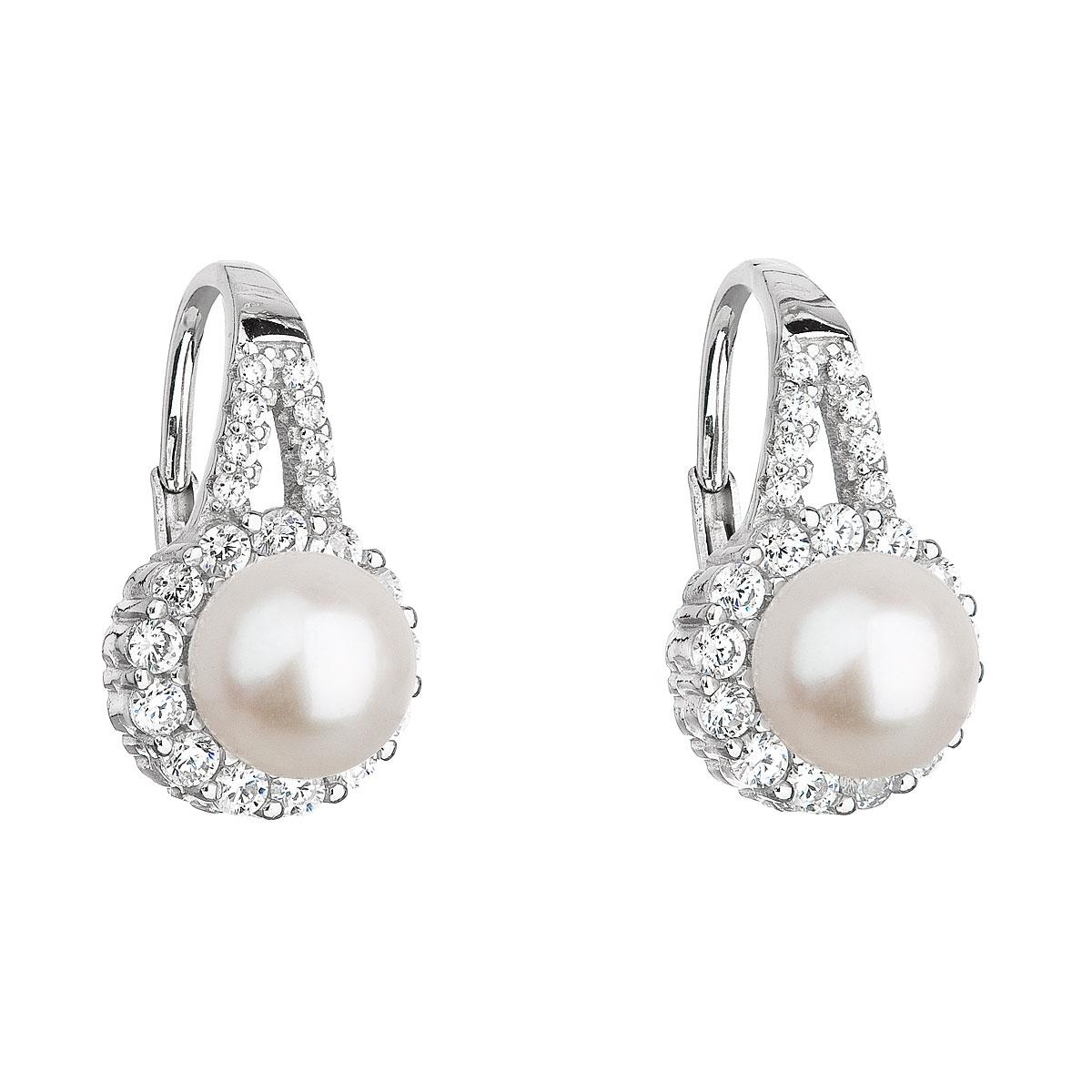 Stříbrné náušnice se zirkony a říční perlou EG2167