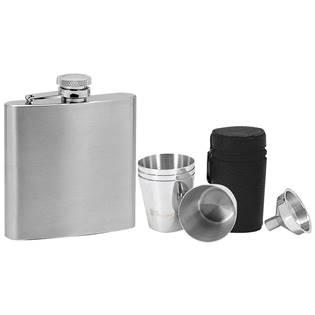 Ocelová kapesní lahev - placatka 180ml + 4 kalíšky 30ml a trychtýřek