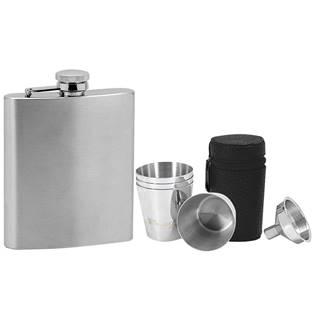 Ocelová kapesní lahev - placatka 220ml + 4 kalíšky 30ml a trychtýřek 97088