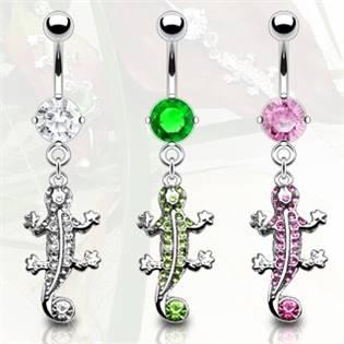Šperky4U Piercing do pupíku - ještěrka - WP01208-G