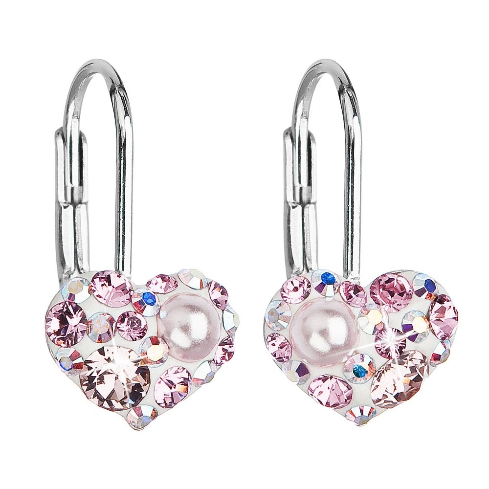 Dívčí stříbrné náušnice srdíčka s krystaly Crystals from Swarovski®, ROSE AB EG2003-ROAB