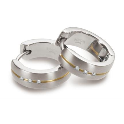 Titanové náušnice kroužky s diamanty 0539-10
