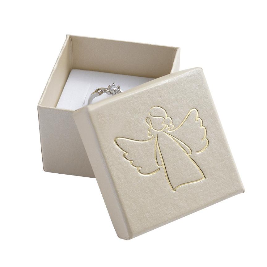 Biela darčeková krabička, strieborný anjel