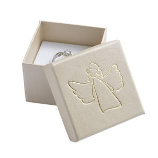 Bílá dárková krabička, stříbrný anděl