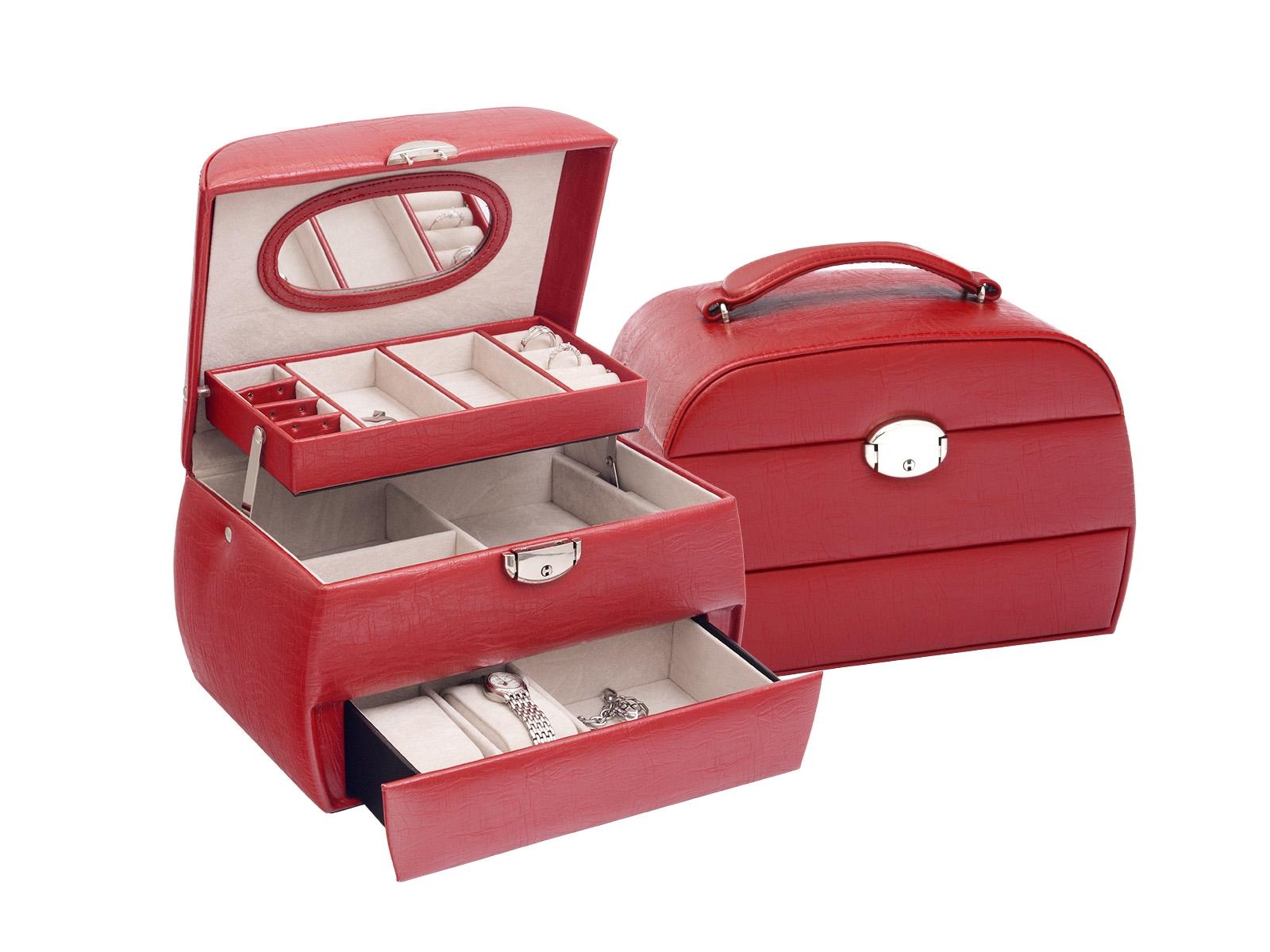 Šperkovnice - červená koženka SVK1107-R